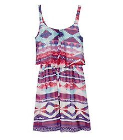 Amy Byer Girls' 7-16 Double Pleat Printed Dress