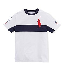 Ralph Lauren Childrenswear Boys' 2T-20 Short Sleeve Logo Stripe Tee
