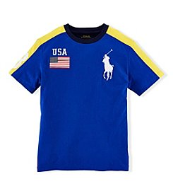Ralph Lauren Childrenswear Boys' 2T-20 Short Sleeve Color Block Tee