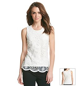 Studio West® Floral Leaf Lace Tank Top