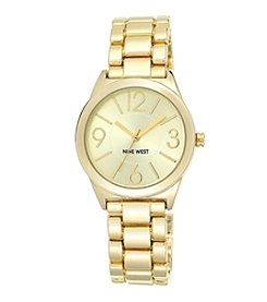Nine West® Goldtone Link Watch