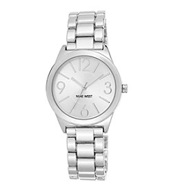 Nine West® Silvertone Link Watch