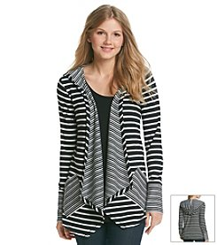 Cable & Gauge® Stripe Hooded Cardigan