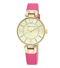 Anne Klein® Bold Pink Leather Strap Watch with Oversized Case