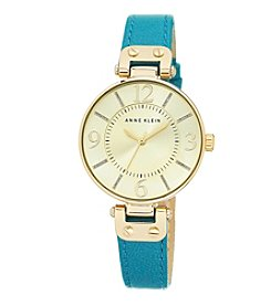 Anne Klein® Bold Teal Leather Strap Watch with Oversized Case