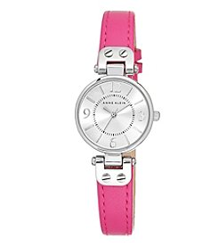 Anne Klein® Petite Pink Leather Strap Watch