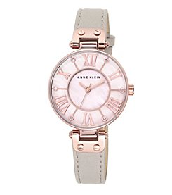 Anne Klein® Bold Taupe Leather Strap Watch with Oversized Case