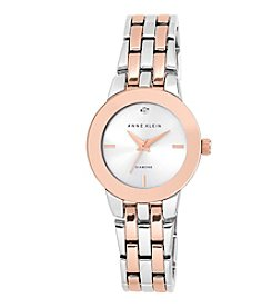 Anne Klein® Rose Goldtone and Silvertone Watch with Diamond Dial
