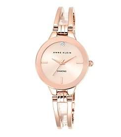 Anne Klein® Rose Goldtone Open Link Diamond Bangle Watch