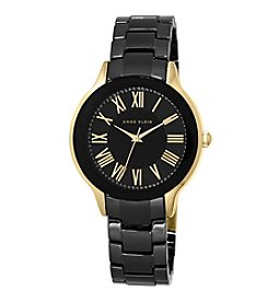 Anne Klein® Black and Gold Ceramic Link Watch