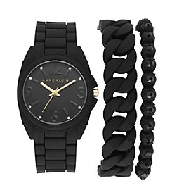Anne Klein® Black Silicon Bracelet Watch Set