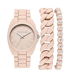 Anne Klein® Blush Silicon Bracelet Watch Set