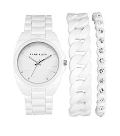 Anne Klein® White Silicon Bracelet Watch Set