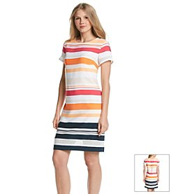 Jones New York Collection® Striped Mesh Hem Dress