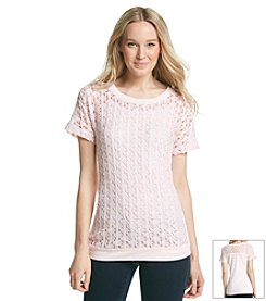 Ruff Hewn Openfront Lace Dolman Tee