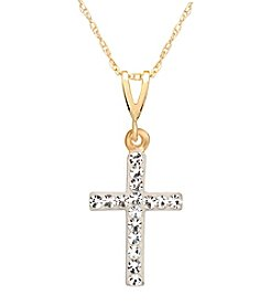 Clear Crsytal Cross Pendant in 14K Yellow Gold