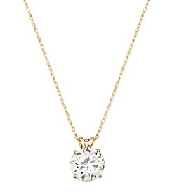 6.5mm Round Cubic Zirconia Pendant in 14K Yellow Gold