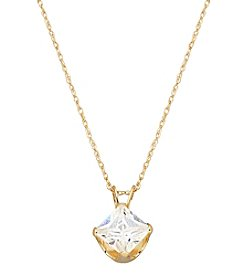 5mm Square Cubic Zirconia Pendant in 14K Yellow Gold