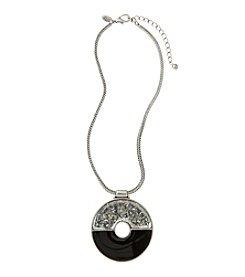 Laura Ashley® Black Epoxy And Silvertone Circle Pendant Necklace