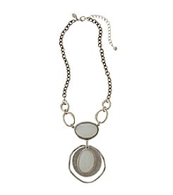 Laura Ashley® White And Silvertone Layered Pendant