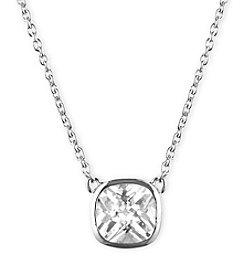 Anne Klein® Silvertone Cubic Zirconia Pendant Necklace