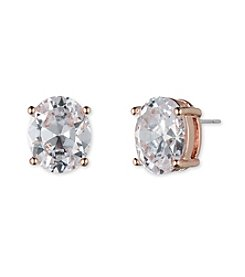 Anne Klein Rose Goldtone Oval Cubic Zirconia Earrings