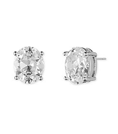 Anne Klein® Silvertone Oval Cubic Zirconia Earrings