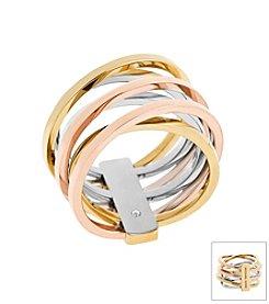 Michael Kors Tri Tone Criss Cross Ring