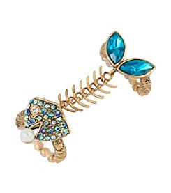 Betsey Johnson® Goldtone Fish Bone Duo Stretch Ring