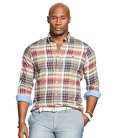 Polo Ralph Lauren® Men's Big & Tall Long Sleeve Plaid Poplin Sport Shirt