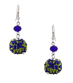 Erica Lyons® Silvertone Devil In A Blue Dress Beaded Ball Drop Pierced Earrings