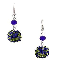 Erica Lyons® Silvertone Devil In A Blue Dress Beaded Ball Drop Pierced Earrings