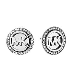 Michael Kors® Silvertone Monogram Stud Earrings