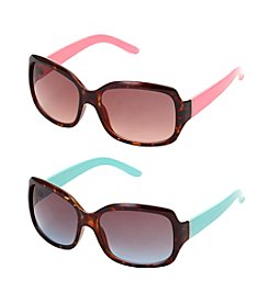 Relativity® Rectangle with Color Temples Sunglasses
