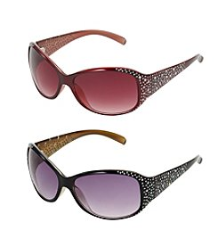 Relativity® Oval with Rhinestones Sunglasses