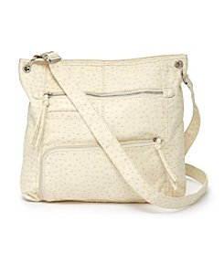 GAL Ostrich Washed Multi Zip Convertible Hobo