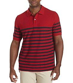 Harbor Bay® Men's Big & Tall Placed Bi-Color Striped Polo Shirt