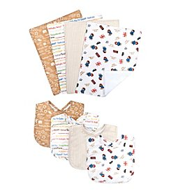 Trend Lab 4-Pack Paddington Bear Bouquet  Bib and Burp Cloth Set