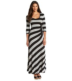 Calvin Klein Striped Ruched Side Maxi Dress