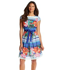 S.L. Fashions® Tropical Striped Chiffon Dress