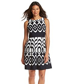 Taylor Dresses Geometric Print Fit And Flare Dress