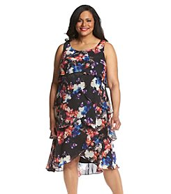 S.L. Fashions Plus Size Floral Tiered Dress