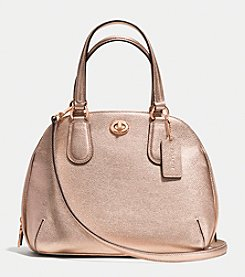 COACH PRINCE STREET MINI SATCHEL IN METALLIC CROSSGRAIN LEATHER
