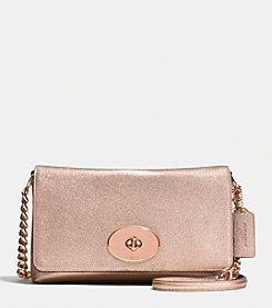 COACH CROSSTOWN CROSSBODY IN METALLIC CROSSGRAIN LEATHER