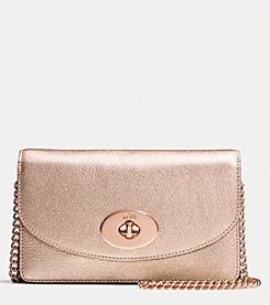 COACH CLUTCH WALLET WITH CHAIN IN METALLIC CROSSGRAIN LEATHER