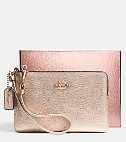 COACH NOLITA WRISTLET 19 IN METALLIC CAVIAR CALF LEATHER