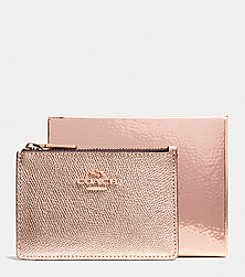 COACH MINI SKINNY IN METALLIC CROSSGRAIN LEATHER