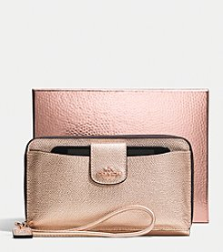 COACH UNIVERSAL WALLET WITH PHONE POCKET IN METALLIC CROSSGRAIN LEATHER
