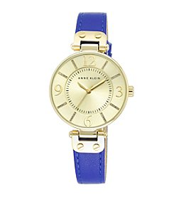 Anne Klein® Blue Leather Goldtone Strap Watch