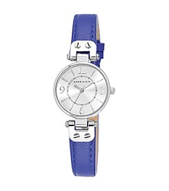 Anne Klein® Blue Leather Silvertone Petite Strap Watch